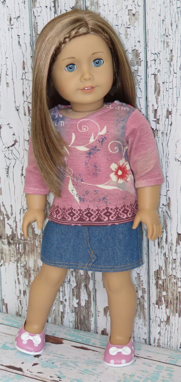 "Trendy 18"" American Girl Doll Clothes from Silly Monkey - Rose Graphic Top and Denim Skirt, $15.99 (http://www.silly-monkey.com/products/rose-graphic-top-and-denim-skirt.html)"