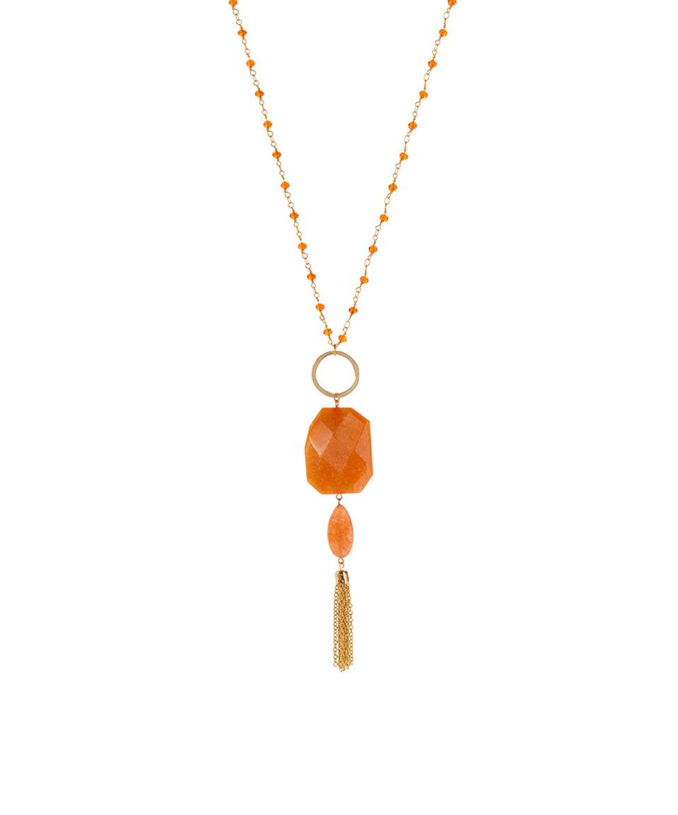 Another great find on #zulily! Orange Jade & Crystal Beaded Tassel Pendant Necklace by Luxe Group #zulilyfinds