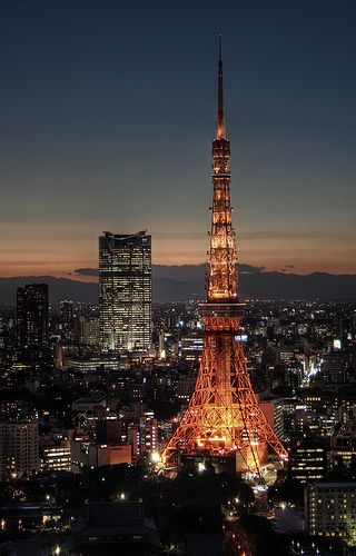 Tokyo tower shining bright in Tokyo