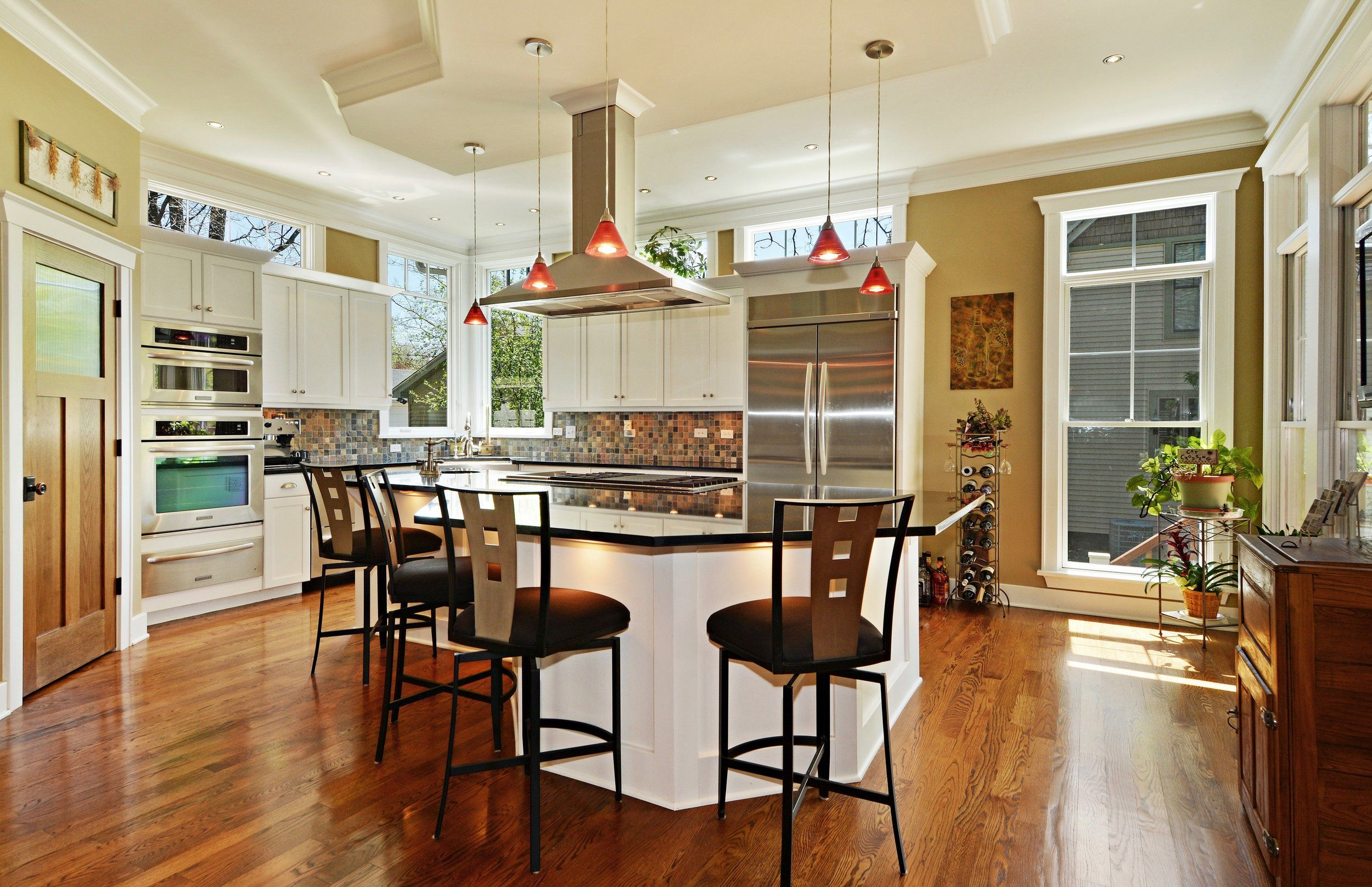 Transitional Custom Kitchen With Transom Windows Above Cabinets Ceiling Mount Stainless St Affordable Kitchen Remodeling Kitchen Soffit Custom Kitchen Remodel