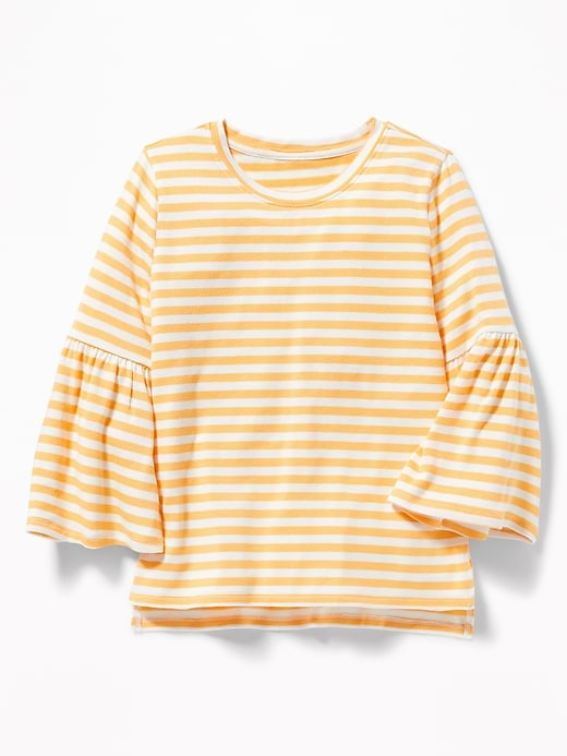 ecba93f52 Old Navy Girls' Plush-Knit Bell-Sleeve Tops Yellow/White Stripe Size XXL