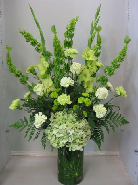 Green Wedding Or Party Arrangement Green Bells Of Ireland Gladiolus Antique Funeral Flower Arrangements Large Flower Arrangements White Flower Arrangements