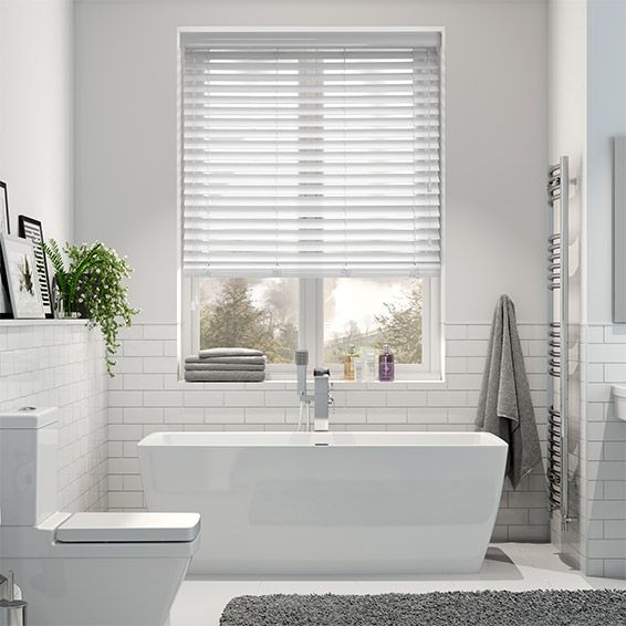Gloss Bright White Wooden Blind Mm White Wooden Blinds Room - Waterproof blinds for the bathroom for bathroom decor ideas