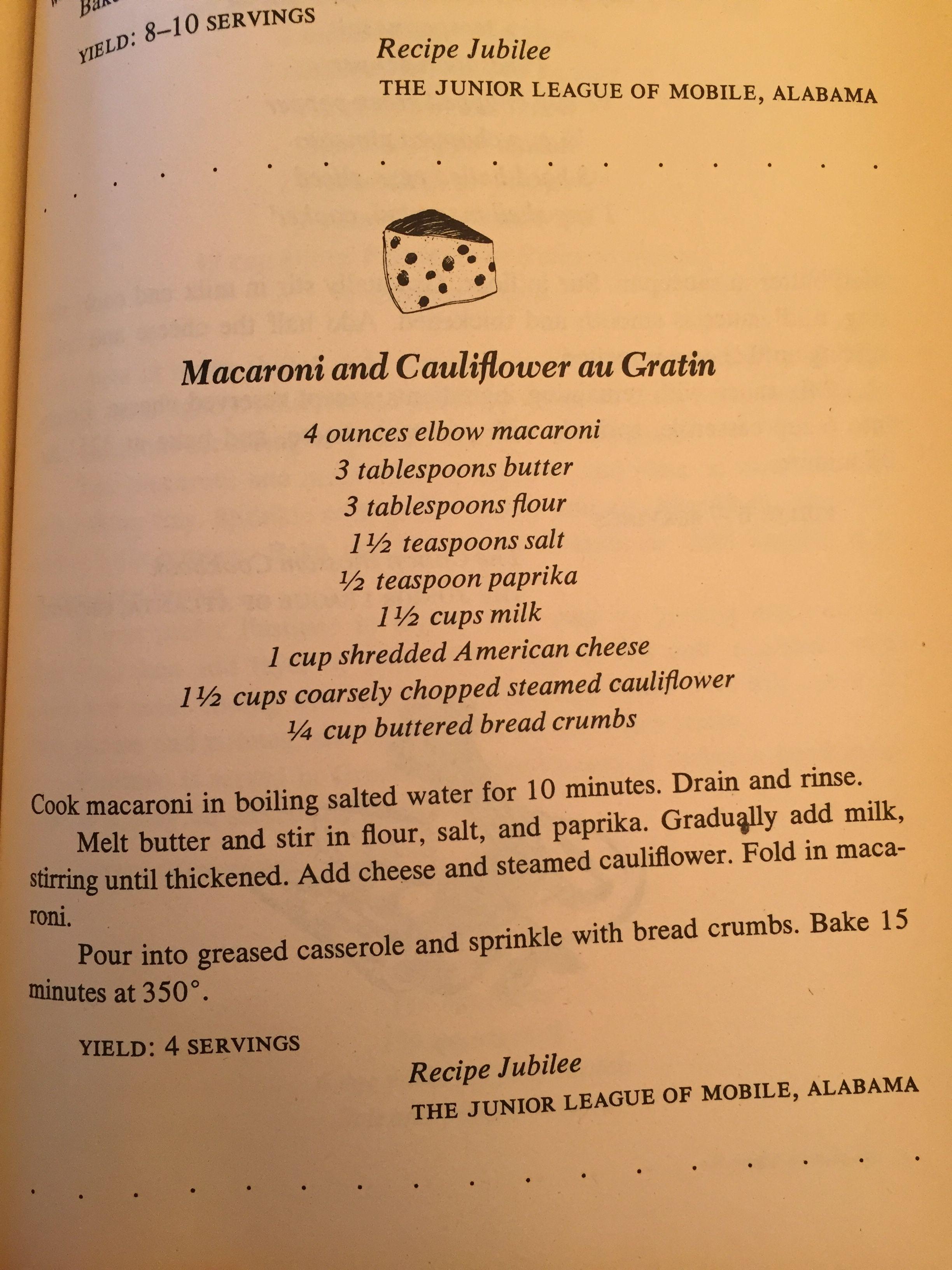 Macaroni and cauliflower au gratin