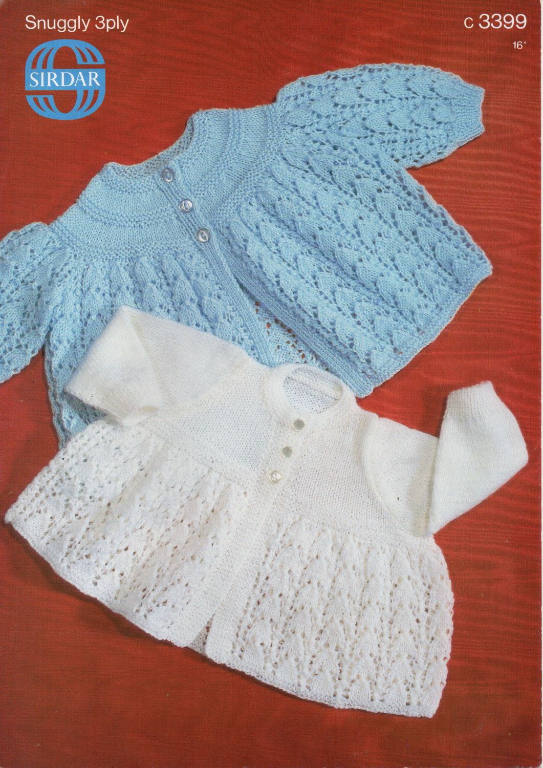 PLY 3//6 MONTHS    PATTERN ONLY BABY MATINEE JACKETS 2DESIGNS   KNITTED IN 4