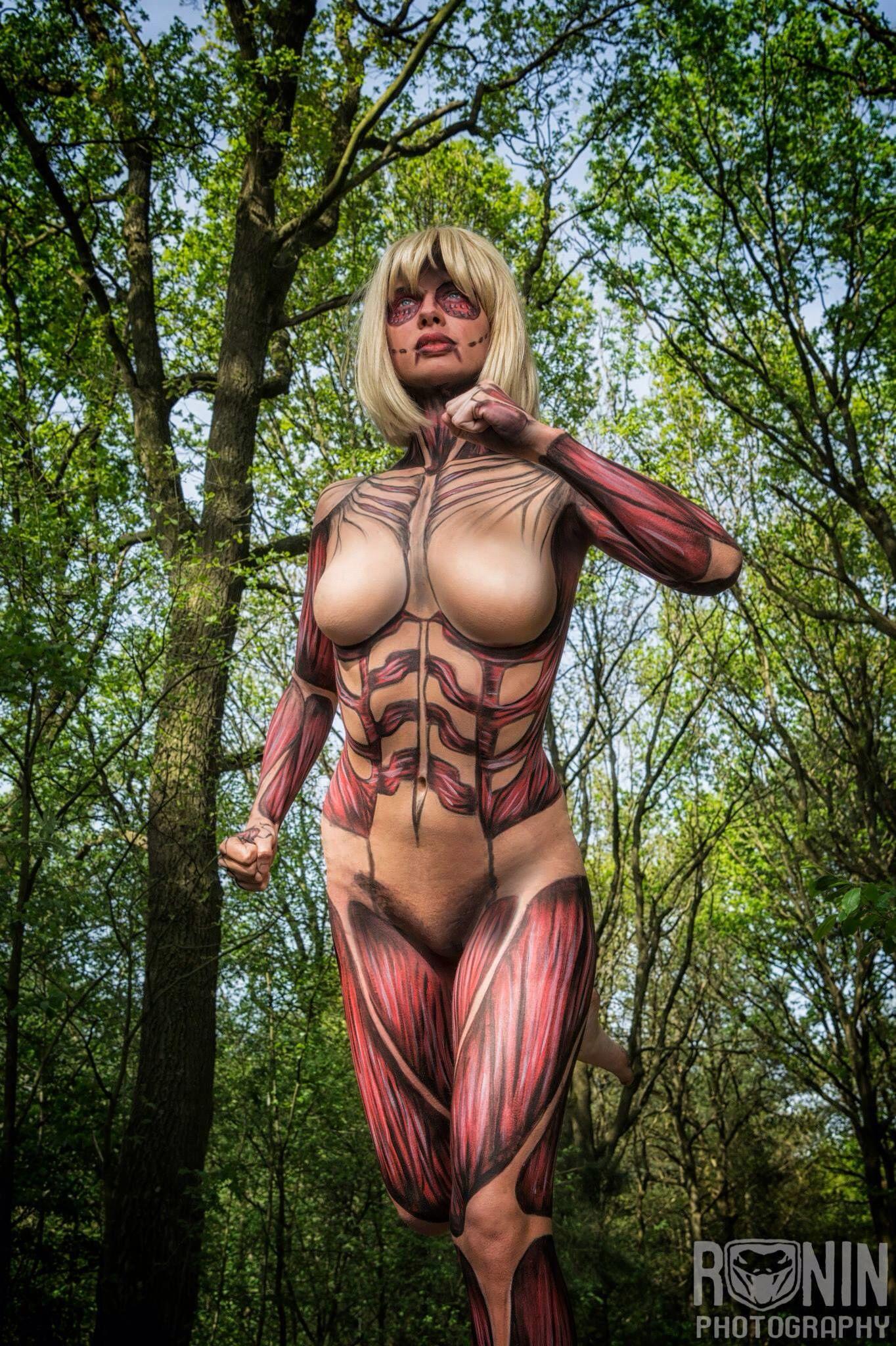 Female Titan full bodypaint model Jasmine Suzanna photo by Ronin