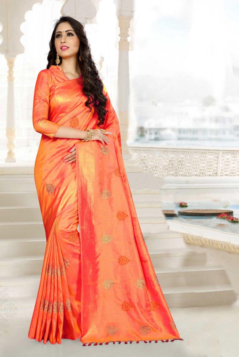 61c50c55f68 Orange Traditional Embroidered Raw Silk Saree with Blouse Material ...