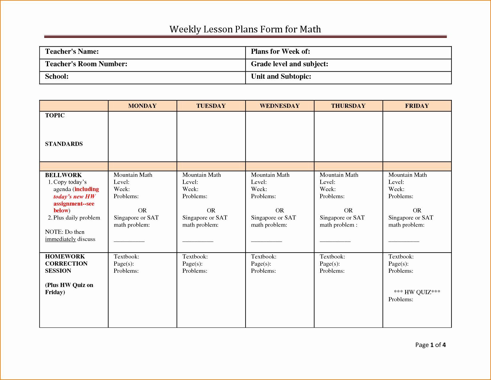 25 Math Lesson Plan Template in 2020 Weekly lesson plan
