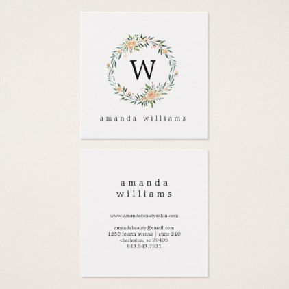 Green Leaves and Peony Wreath and Monogram Square Business Card - business invitation template