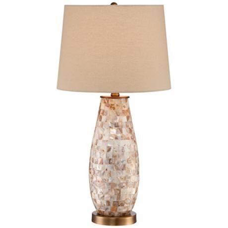 Mother Of Pearl Table Lamp Gl Construction Beige Shade 150 Max Wattage Bulb Not Included On Off Switch 26 1 2 High Is 12 Across The Top