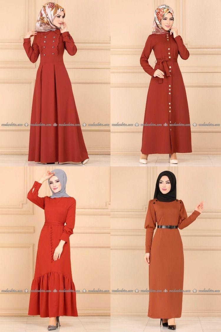 2020 Kis Modaselvim Kiremit Tesettur Elbise Modelleri 1 3 2020 Elbise Modelleri Elbise Moda Stilleri