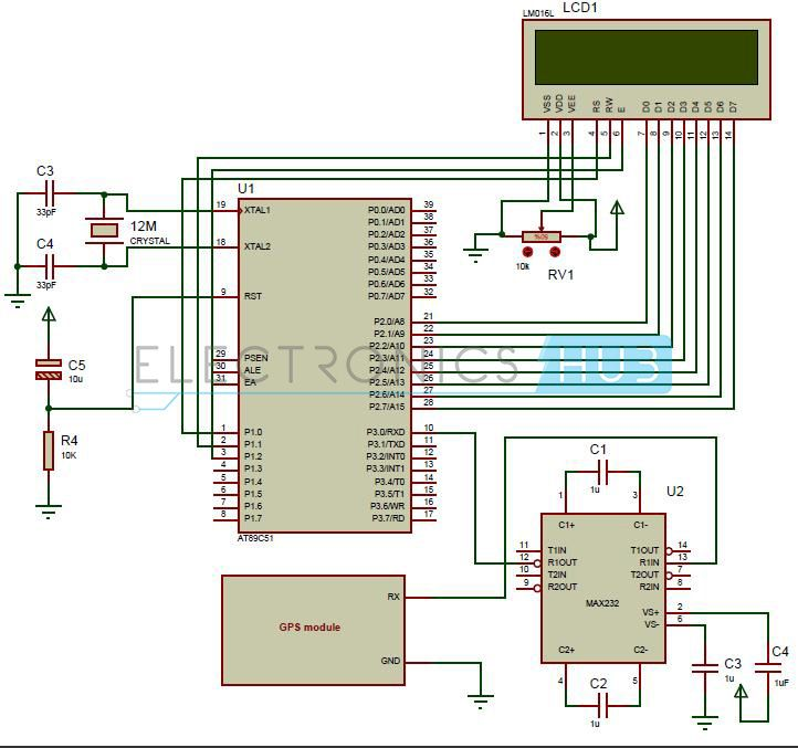 interfacing gps 8051 microcontroller at89c51 circuit in this interfacing of gps 8051 circuit gps module calculates the position by reading