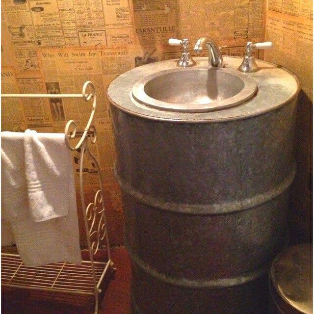 Beer Keg Bathroom Sink: Lavamanos Reutilizando Tambor
