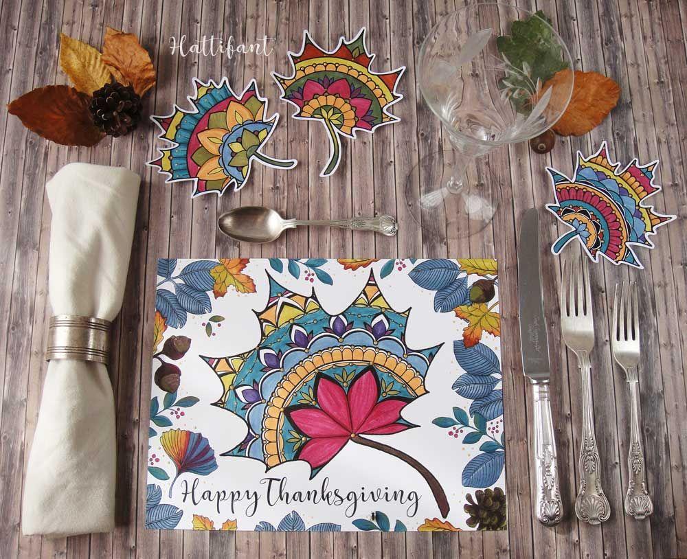 Thanksgiving Mandala Autumn Leaf Placemat Coloring Page Hattifant Leaf Coloring Page Color Crafts Handmade Decorations
