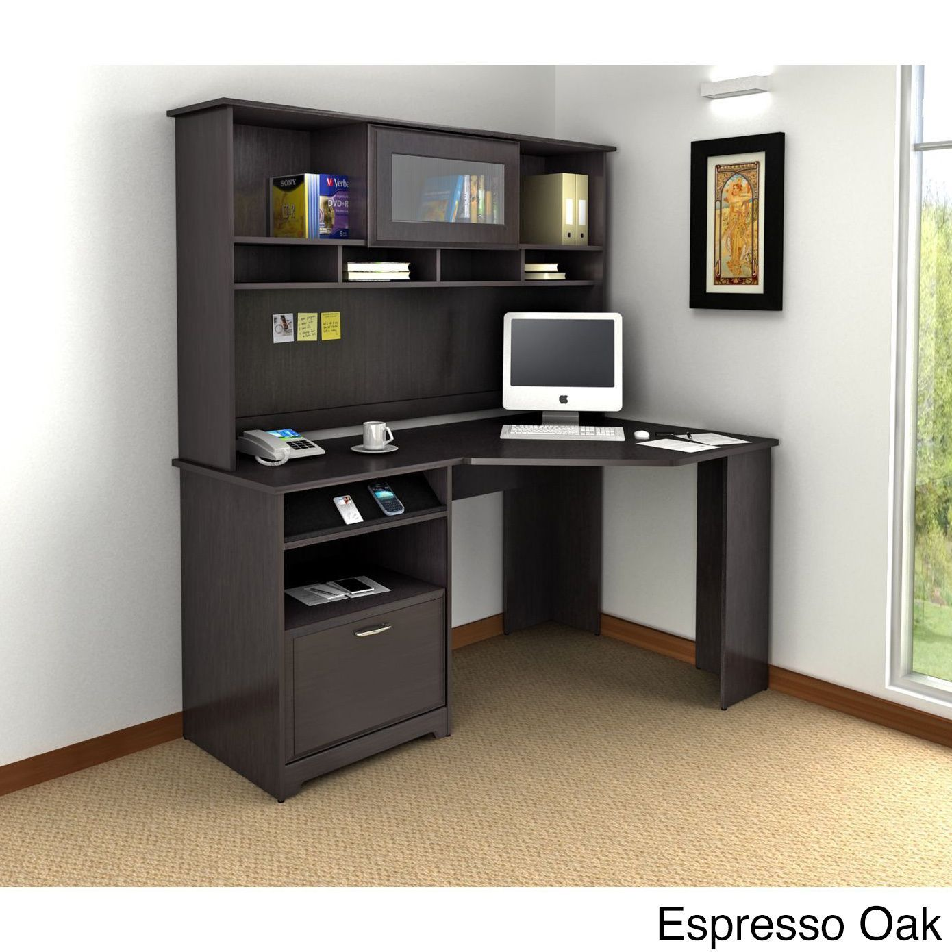 Cabot Corner Desk with Hutch Grey Bush Furniture