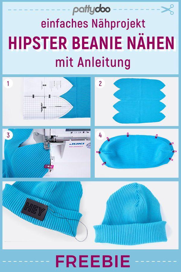 Hipster Beanie Mütze nähen » mit kostenlosem Schnittmuster für Groß & Klein