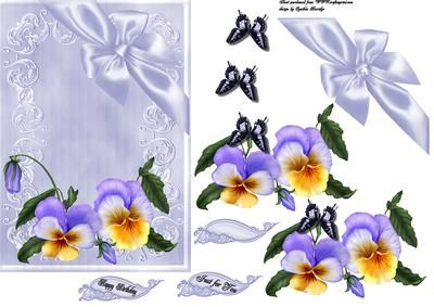 pansies ribbon and bow on Craftsuprint designed by Cynthia Berridge - a quick card front with decoupage - Now available for download!