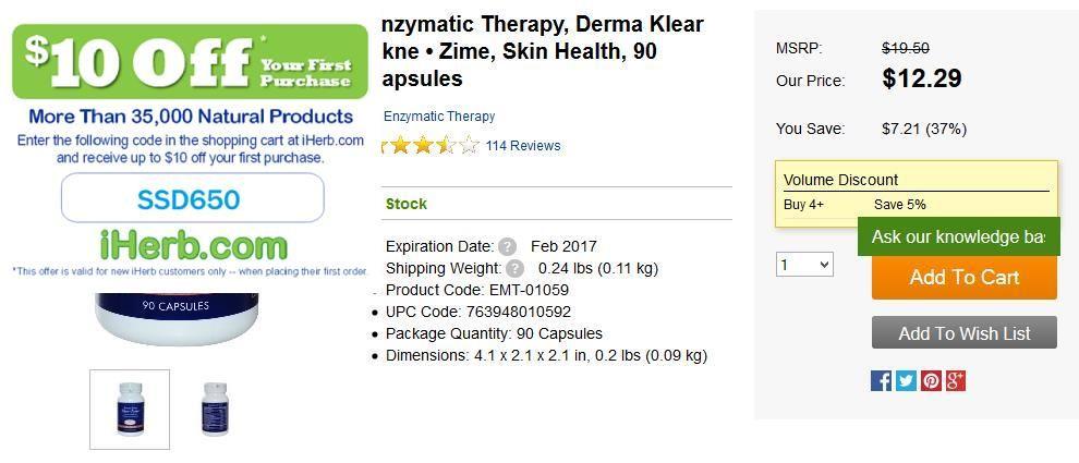 Enzymatic Therapy, Derma Klear Akne • Zime, Skin Health, 90 Capsules   http://iherb.com/Enzymatic-Therapy-Derma-Klear-Akne-Zime-Skin-Health-90-Capsules/2107