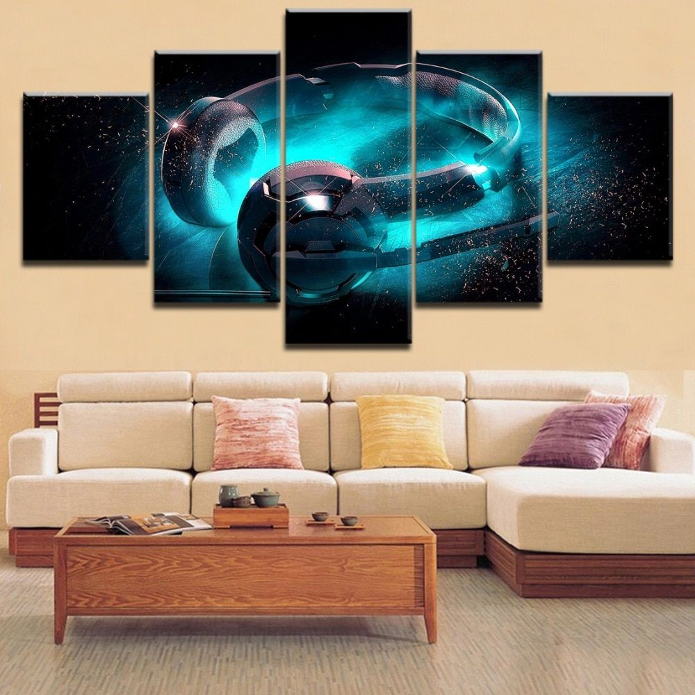 5 pieces toprated hd printing blue glow headphones poster
