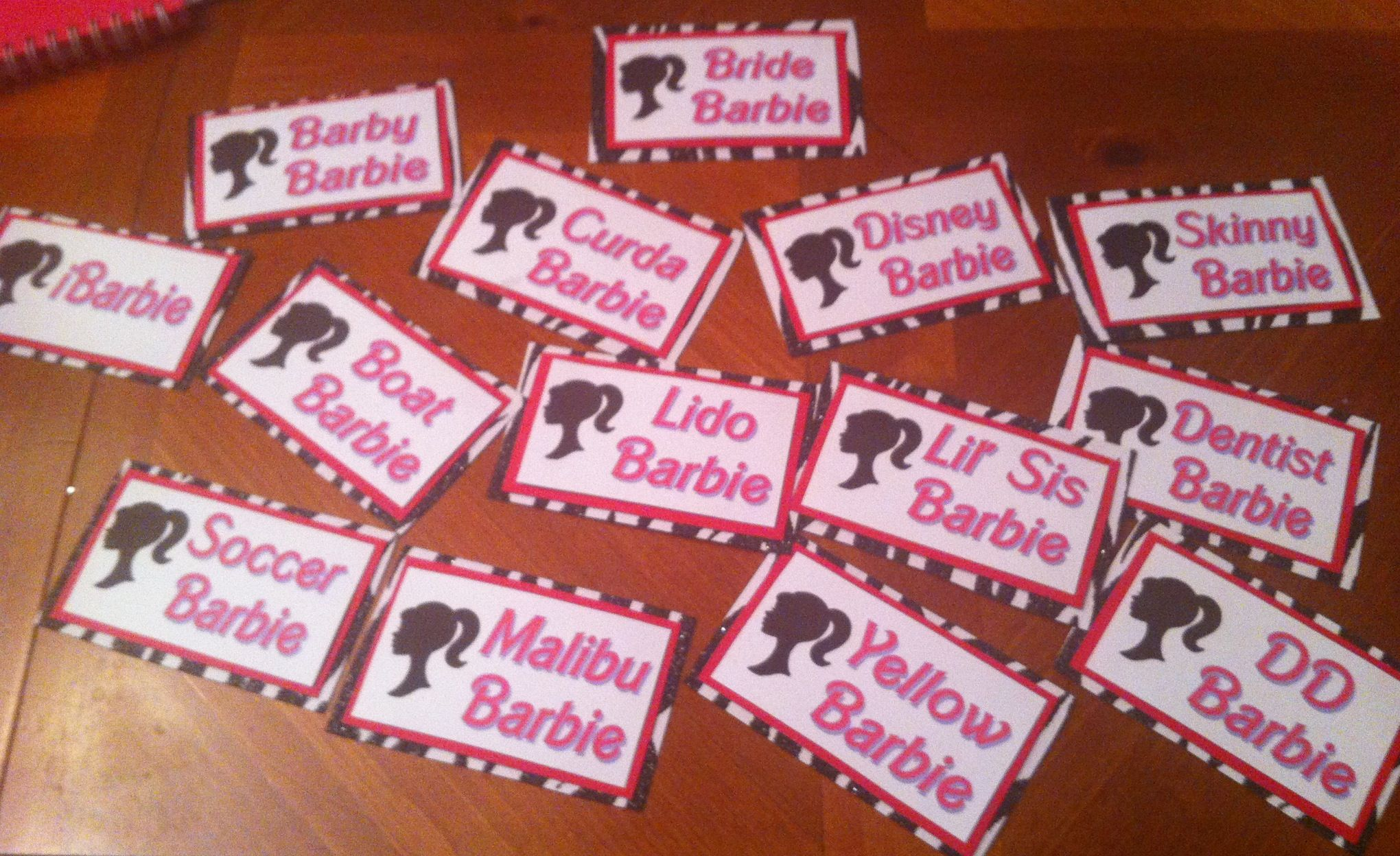 Barbie name tags for a Barbie-themed Bachelorette Party - I was ...