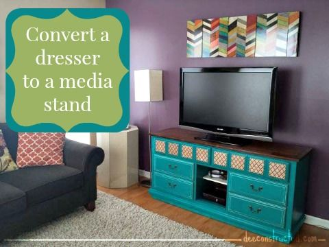 turn a dresser into a tv stand with flip down doors #diy | deeconstructed.com