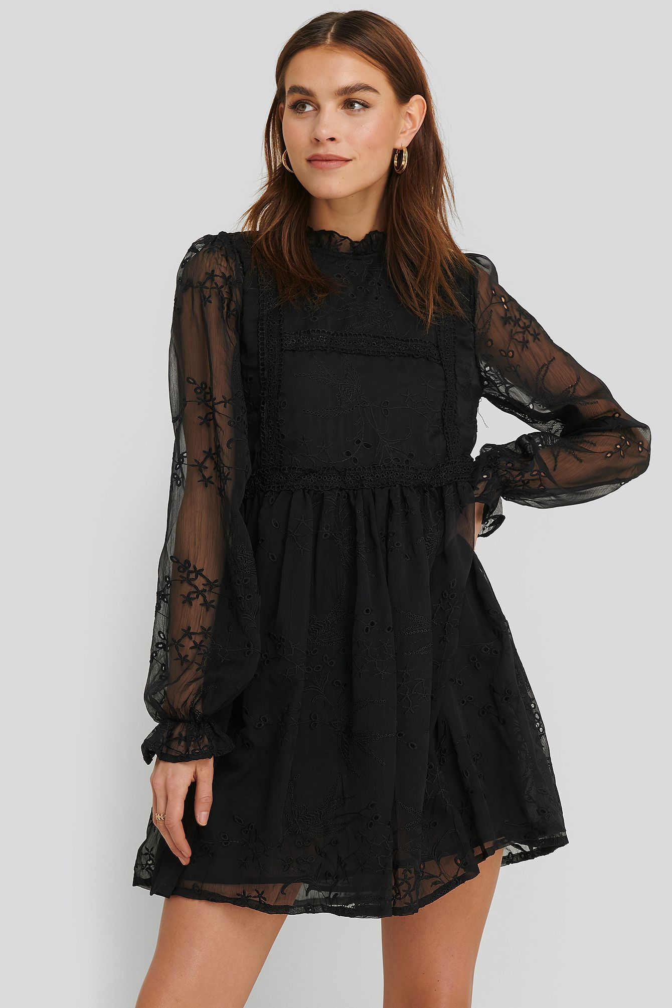 Na-kd Frill Neck Embroidery Dress Black  ModeSens in 11