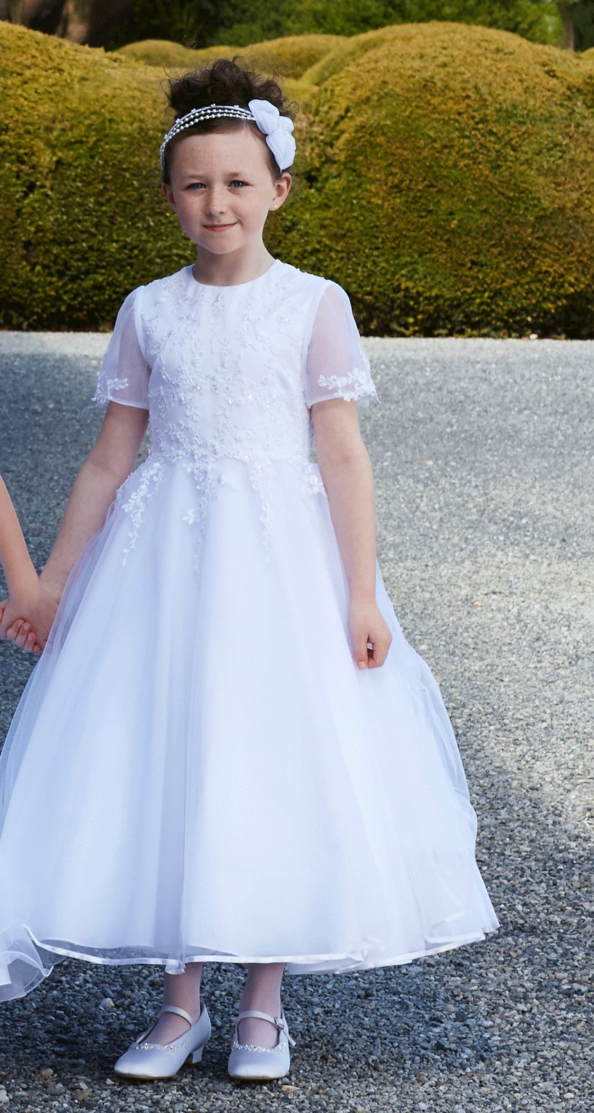 Traditional First Communion Dress - White Full Length with Illusion Princess Sleeves - Isabella - Tallulah 51GO4305