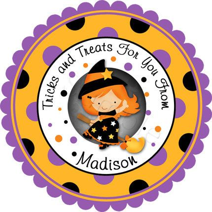 Cute little witch girl wide polka dot border design personalized stickers by partyink