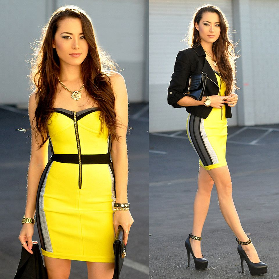 Black dress yellow heels - Find This Pin And More On Dresses