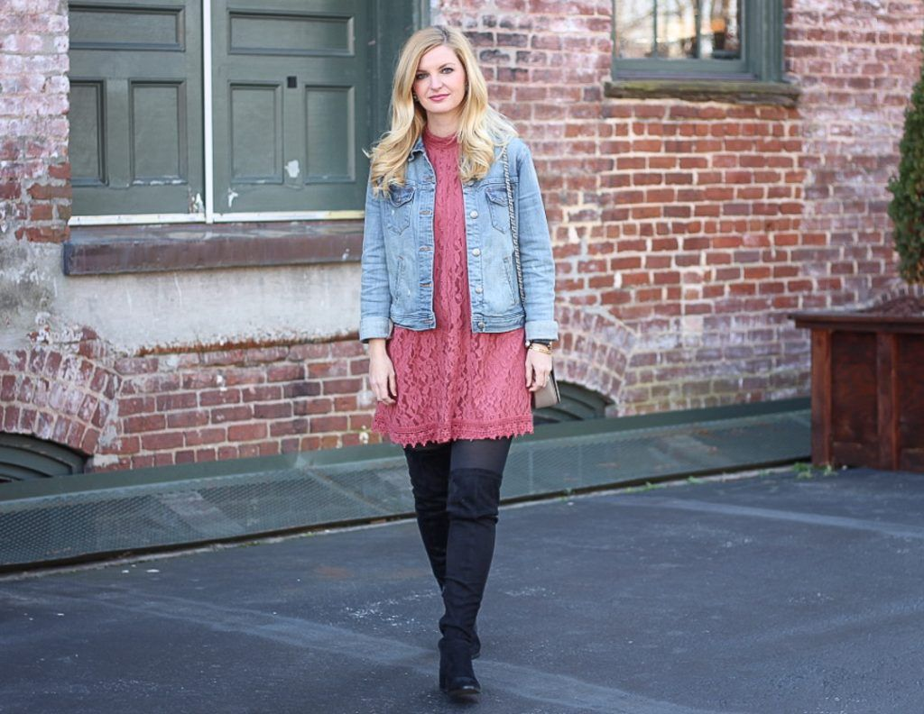 Pink lace dress from target and otk boots winter style tbs