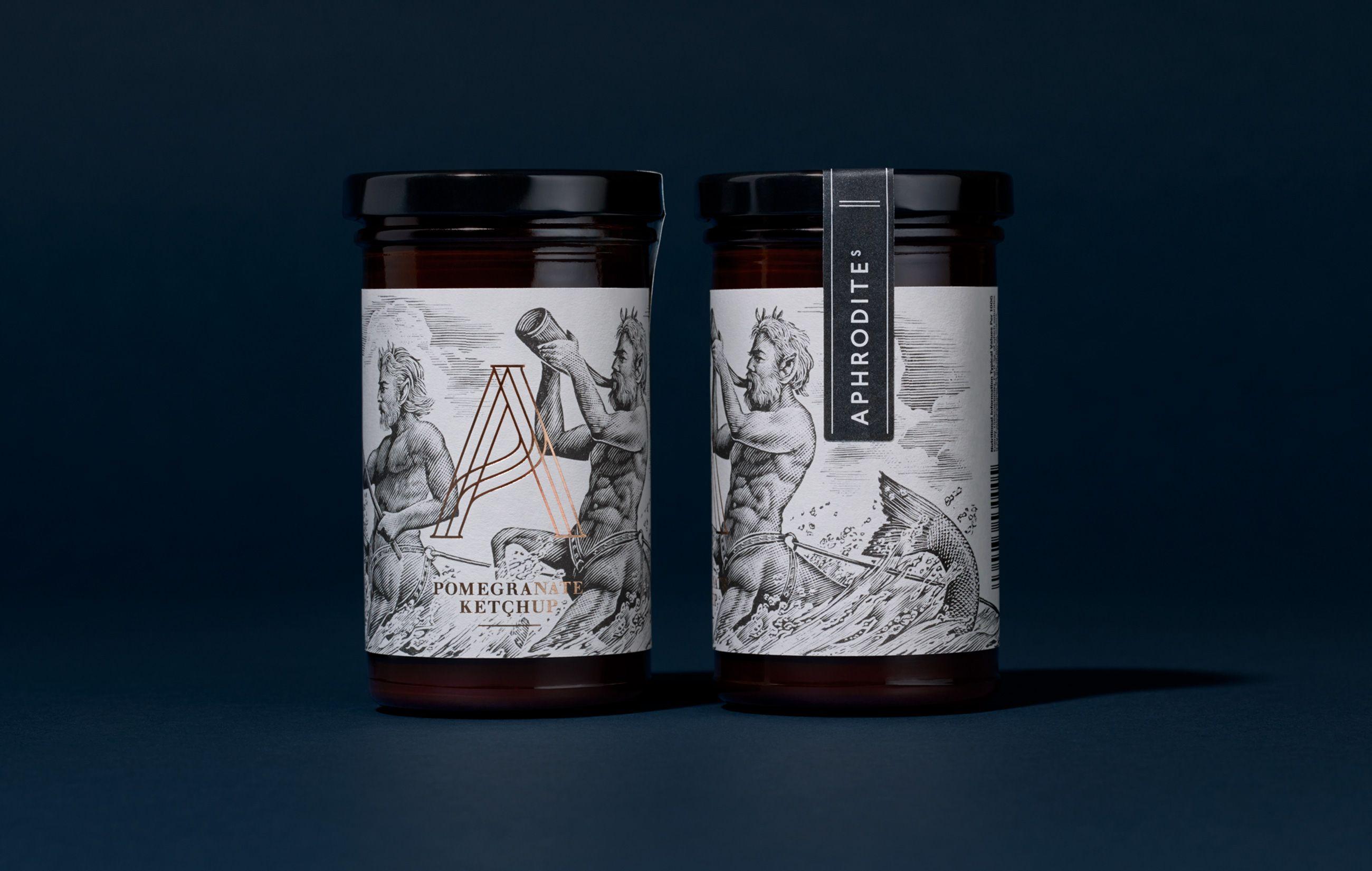 Aphrodite's / Design / Packaging / Jar / Label / Illustration / Gold Foil / Premium / Mythology / Wood Cut / Pomegranate Ketchup