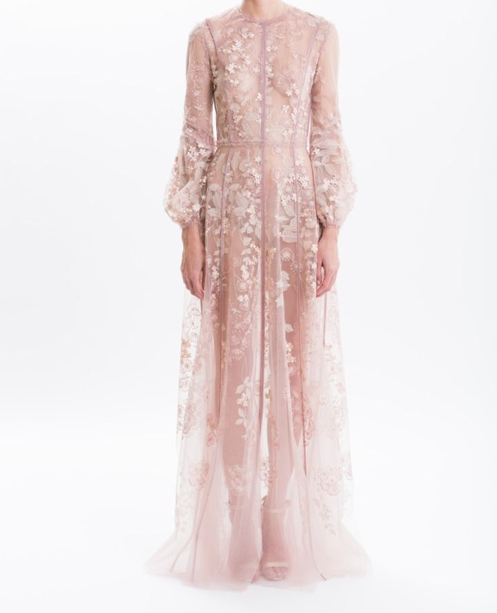 095855d0de J. Mendel Blush Embroidered Tulle Gown