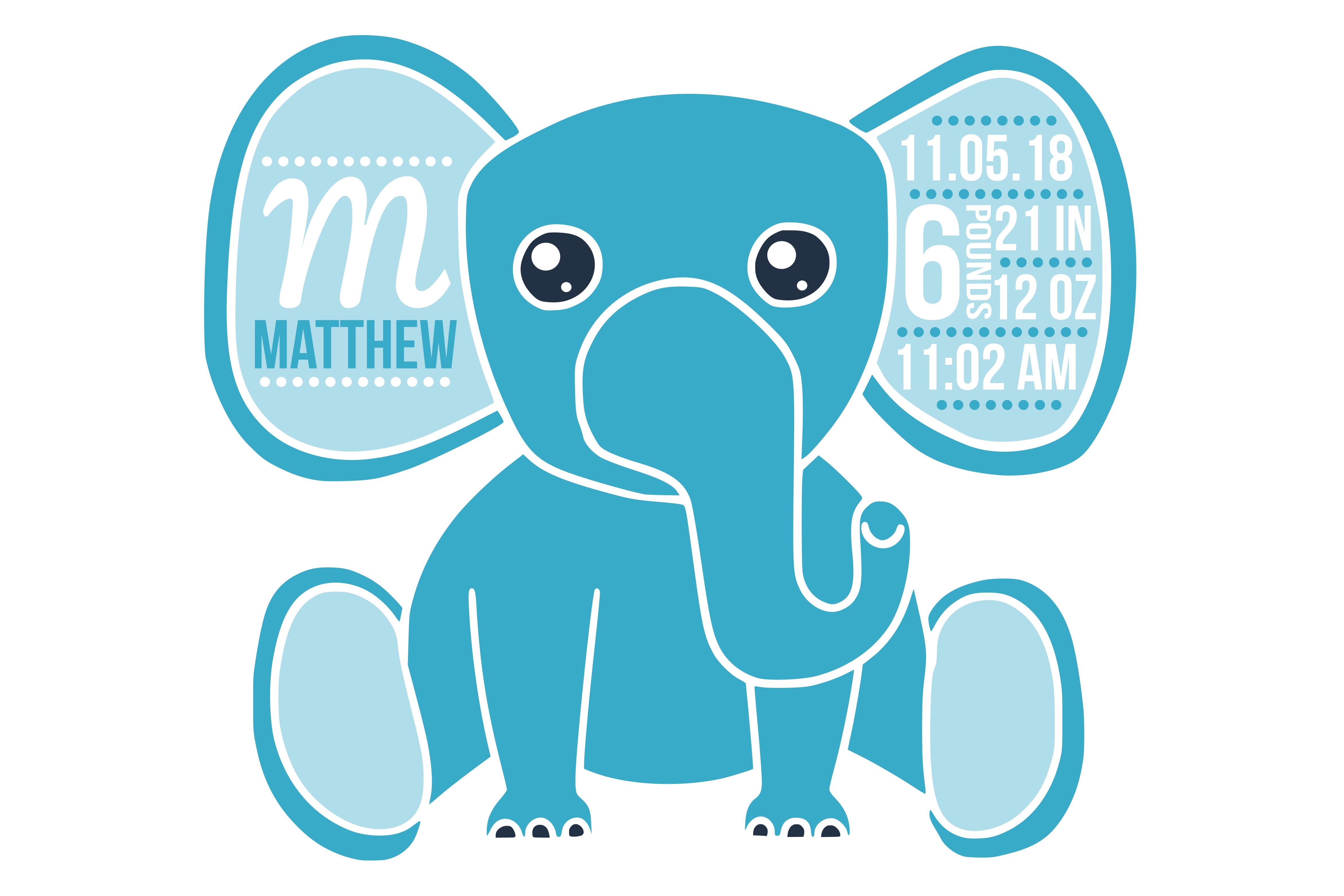 birth stats svg birth stats template elephant svg file baby