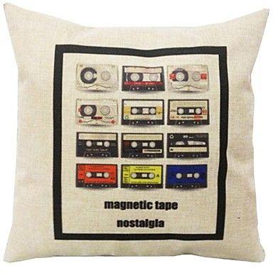 """Createforlife® 18"""" Retro Cartoon Tapes Cotton Linen Square Decorative Pillow – AUD $ 16.76"""