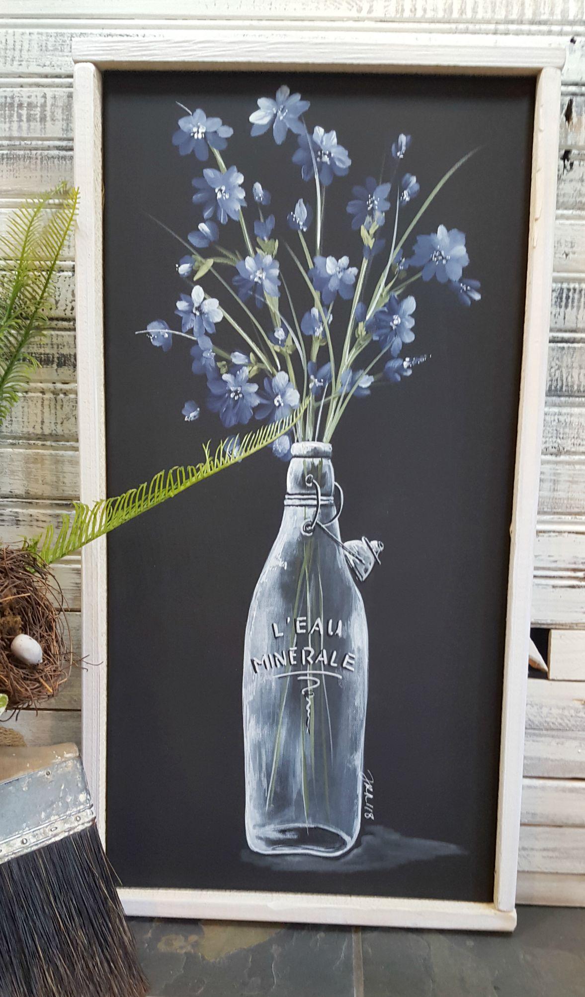 Blue Flower in Water Bottle Hand painting art, Painting, Art