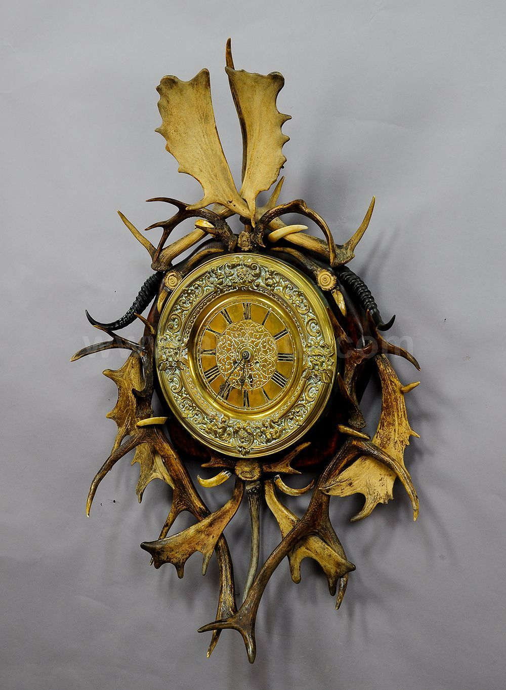 Richly Ornamented Antler Wall Clock 1900 Wall Clock Antlers Clock