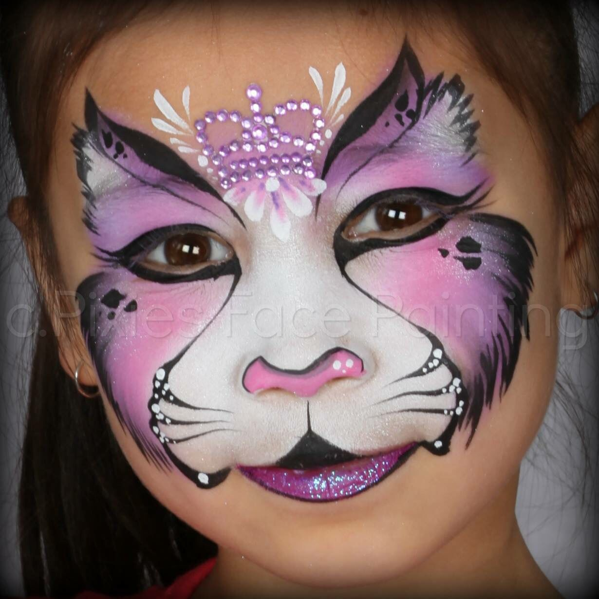 Pink Crowned Kitty Face Paint FacePainting Cats & Kittys