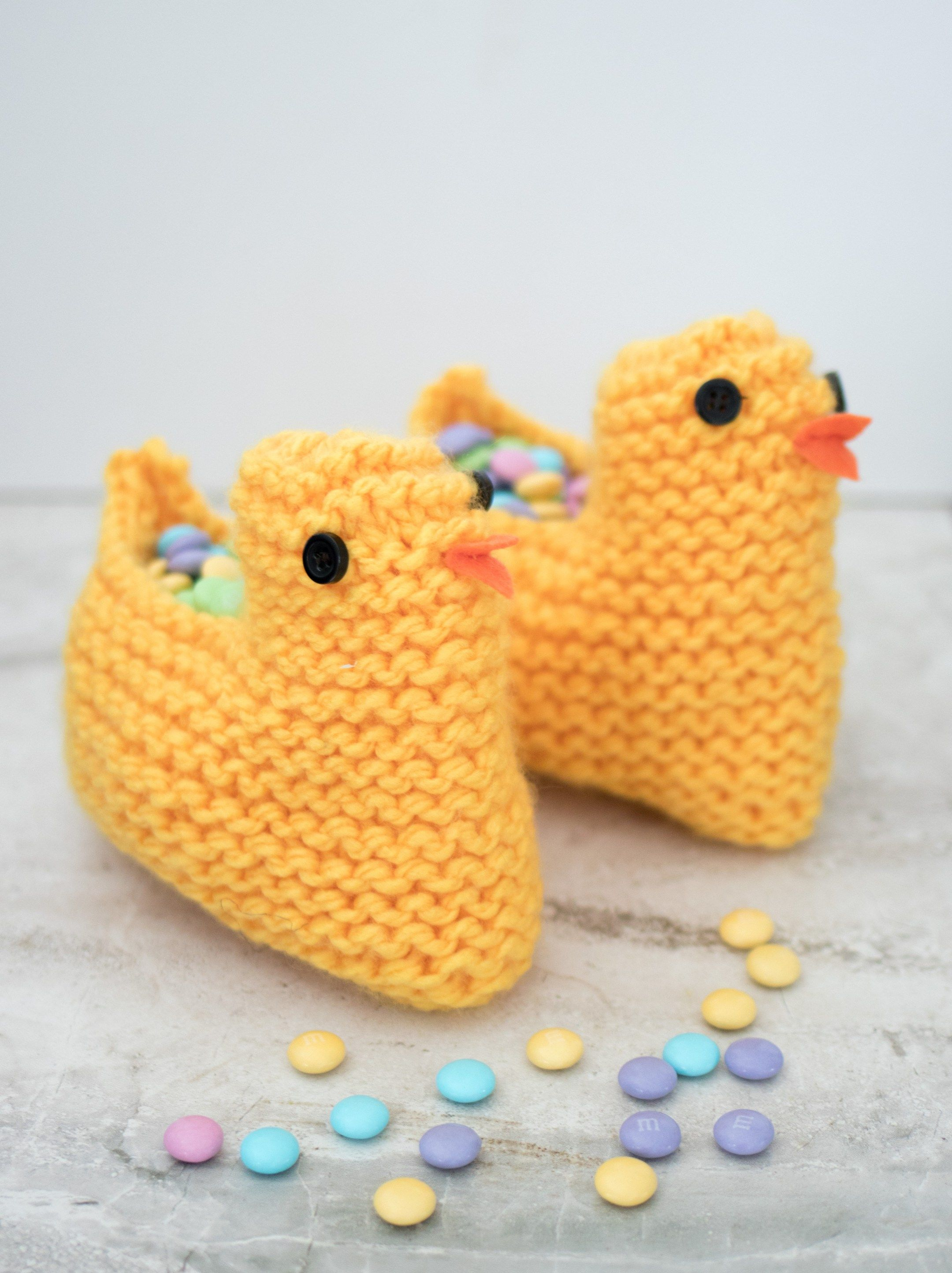 Knit Easter Chick Basket
