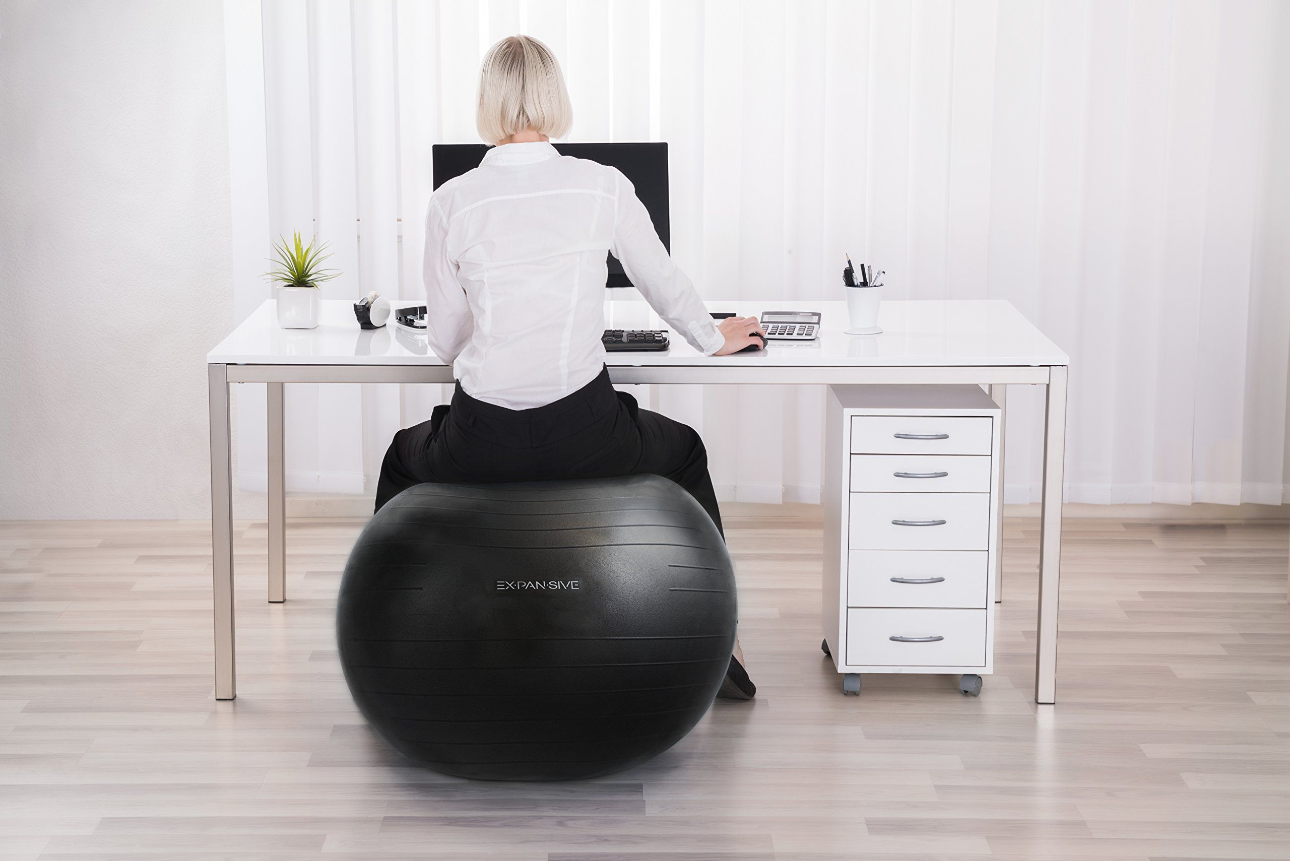 Yoga Ball Desk Chair Anti Burst Exercise Ball Black75 Cm 2000lbs Static Strength