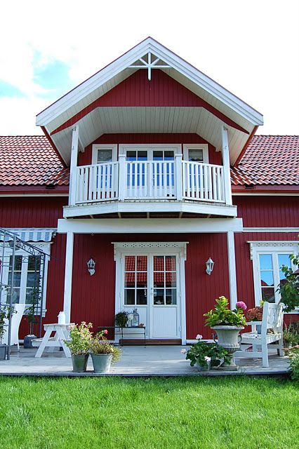 A norwegian style home home curb appeal pinterest swedish style house and red houses for Traditional scandinavian home design