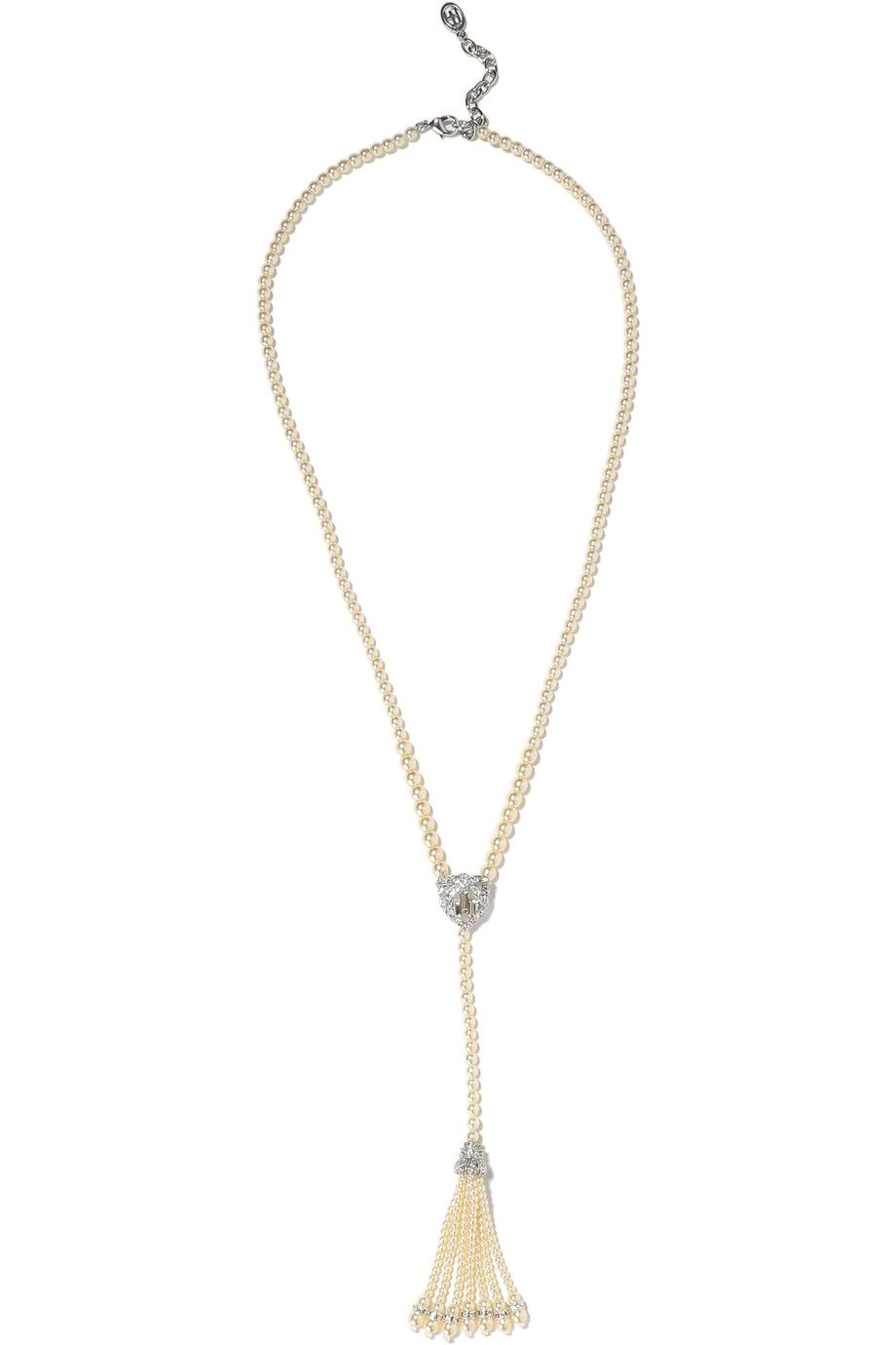 BEN-AMUN Tasseled silver-tone, faux pearl and crystal necklace. #ben-amun #