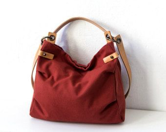 Canvas Hobo Bag Shoulder Bag with leather , Large Casual