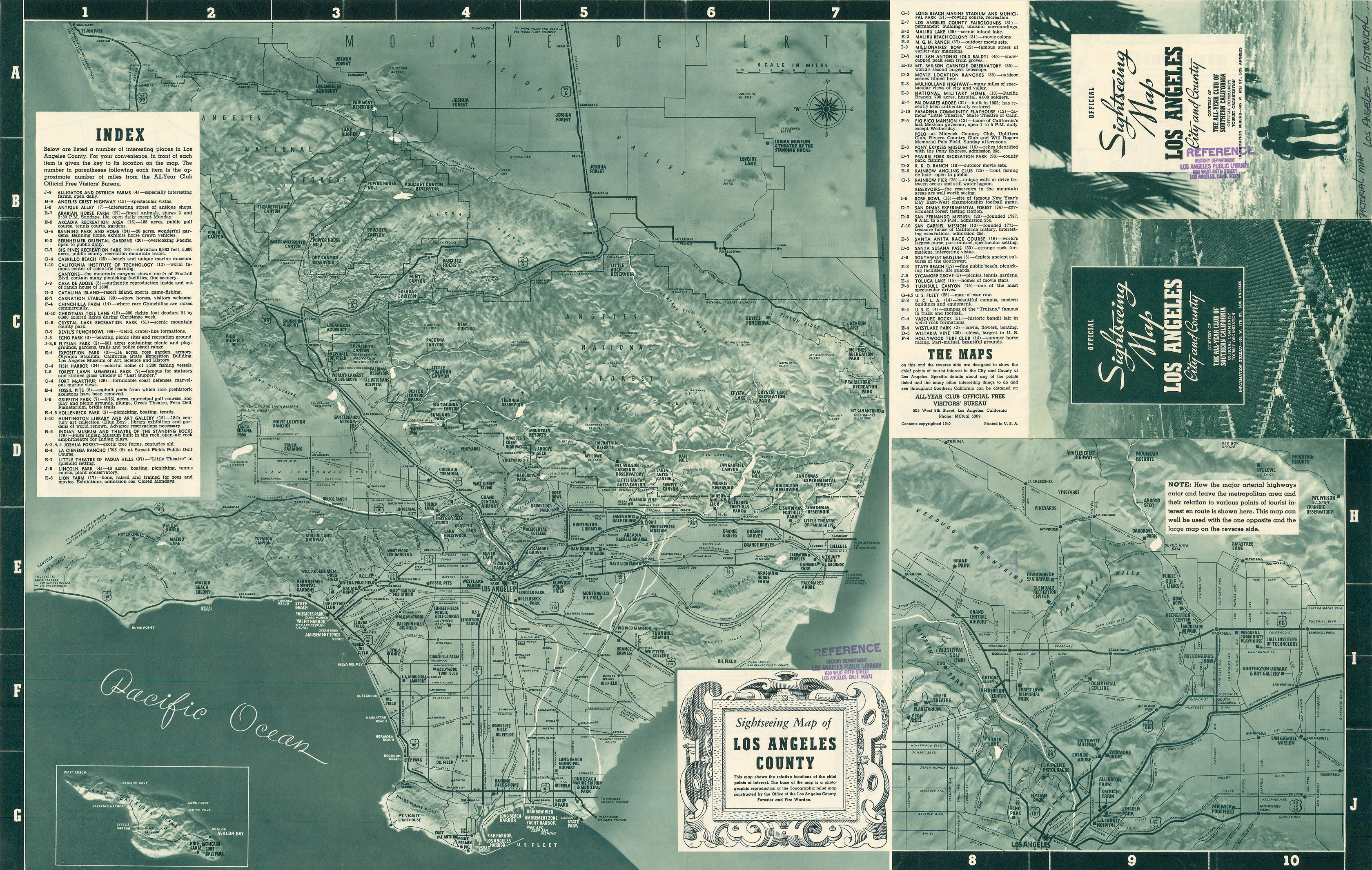 ficial Sightseeing Map Los Angeles City and County 1940