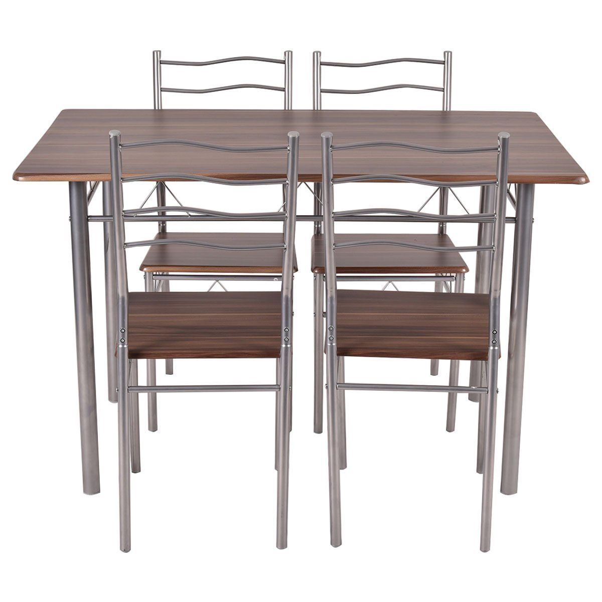Amazon Tangkula 5 Piece Wood Metal Dining Set Kitchen Modern