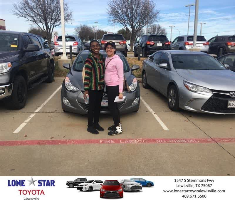 Congratulations Jaybrielle on your #Hyundai #Elantra from Zachary Otto at Lone Star Toyota of Lewisville!  https://deliverymaxx.com/DealerReviews.aspx?DealerCode=E208  #LoneStarToyotaofLewisville