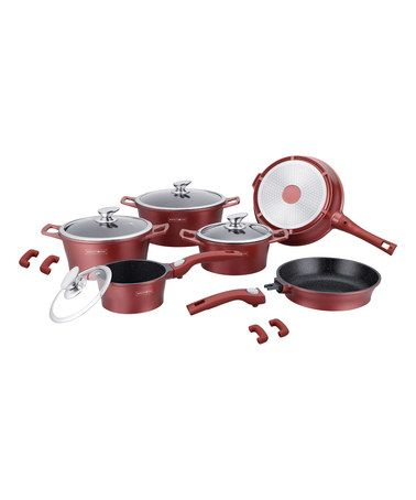 Look what I found on #zulily! Burgundy 14-Piece Marble-Coated Cookware Set #zulilyfinds