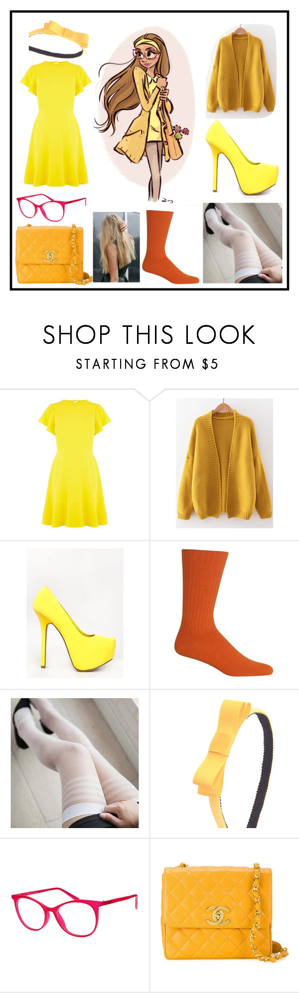 """""""Honey Lemon"""" by bindisydney ❤ liked on Polyvore featuring Disney, Warehouse, WithChic, Breckelle's, Chaps, Italia Independent, Chanel, BigHero6 and blondedisney"""