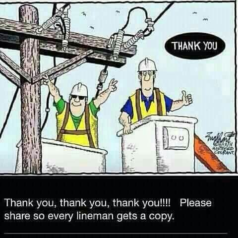 Thanks to the line men and women that keep us safe and warm. #TropicalStrom Hashtags: #MajesticVision #nopower