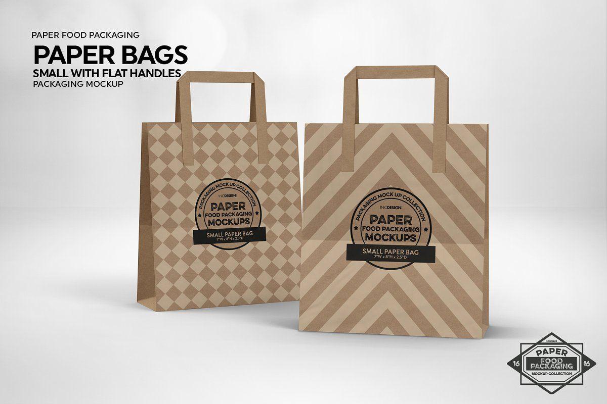 Download Small Paper Bags Flat Handles Mockup Small Paper Bags Bag Mockup Free Packaging Mockup