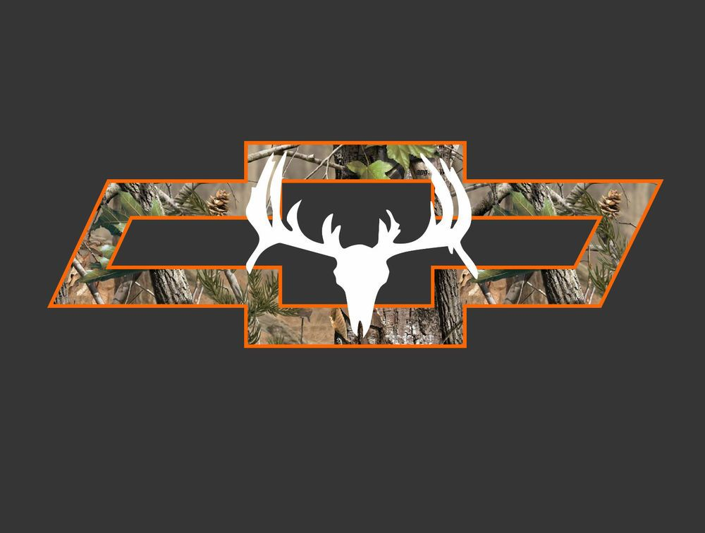 chevy truck camo bowtie with deer vehicle window decal